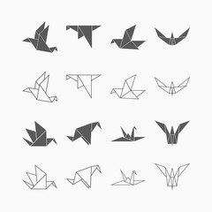 origami paper bird icon set