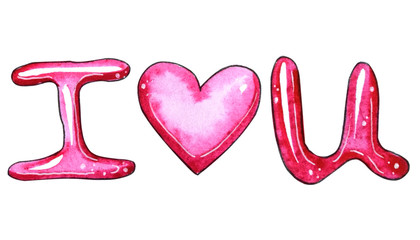 Watercolor text I love U isolated on white background.
