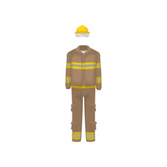 Uniform of fireman. Yellow helmet, brown jacket and pants with stripes. Protective firefighter clothes. Flat vector design