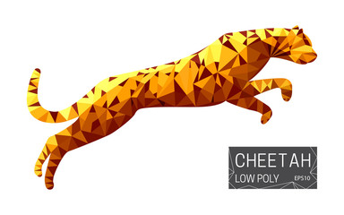 Low poly vector design of running cheetah in poilygon style.