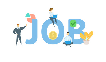 JOB word concept banner. Concept with people, letters, and icons. Colored flat vector illustration. Isolated on white background.