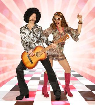 Disco couple having fun