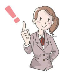 人差し指を立てる会社員・女性