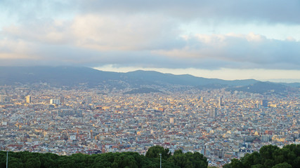 View of Barcelona from a height. Barcelona from a height. City Panarama of Barcelona. Center of Barcelona.