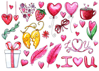Watercolor set of elements for Valentine's day.
