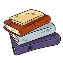 Pile of books cute doodle. Sticker design for planners and notebooks