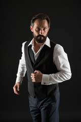 Elegant outfit mature man. Take good care of your silhouette. How to dress for your age. Elegancy and male style. Formal outfit. Classy style. Man bearded guy wear white shirt and classic vest outfit