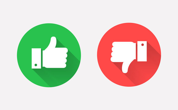 Thumbs up and down flat icon in circle shapes.