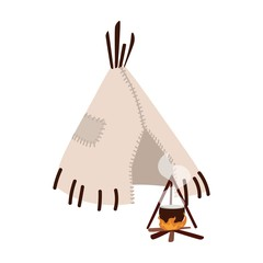 Wigwam, wickiup or wetu. Traditional tribal dwelling of indigenous peoples of America and bonfire isolated on white background. Ethnic hut made of skin. Flat cartoon colorful vector illustration.