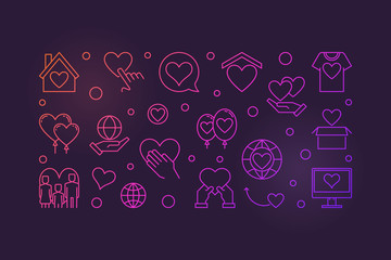 Donation and Charity outline vector colored banner. Volunteering modern illustration on dark background