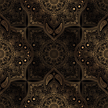 Luxury background vector. Oriental mandala royal pattern seamless. Art deco New Year for Christmas party, holiday wrapping paper, yoga wallpaper, beauty spa salon ornament, wedding invitation.