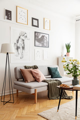 Lamp next to grey sofa with cushions in white flat interior with posters and flowers. Real photo