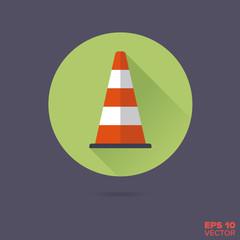 Traffic cone Flat Design Vector Icon