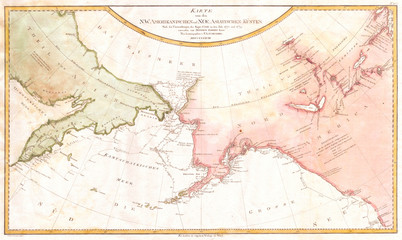 1788, Schraembl Map of the Northwest Passage, Alaska, Pacific Northwest