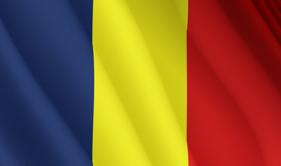Illustration of a flying Romanian flag
