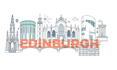 Typography word Edinburgh branding technology concept. Collection of flat vector web icons. Scotland culture travel set, architectures, specialties detailed silhouette. Doodle European famous landmark