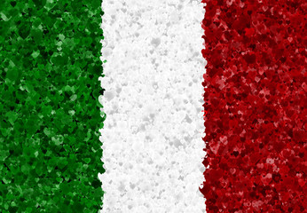 Illustration of an Italian flag with a heart pattern