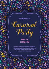Template of Carnival Party invitation with text and colorful texture with serpentines. Vector