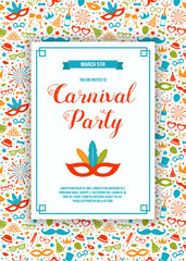 Carnival Party invitation with funny background. Vector.