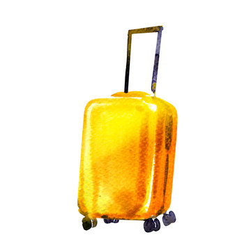Travel bag, yellow wheeled suitcase isolated, icon, symbol of tourist trip, summer vacation and travel concept, hand drawn watercolor illustration on white background