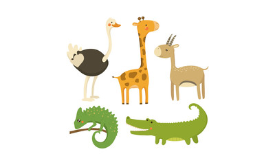 Flat vector set of African animals. Wild creatures. Cute cartoon characters. Elements for mobile game or children book