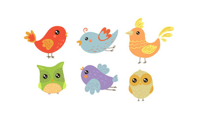 Wall Mural - Flat vector set of colorful little birds. Lovely creatures with small wings. Fauna theme