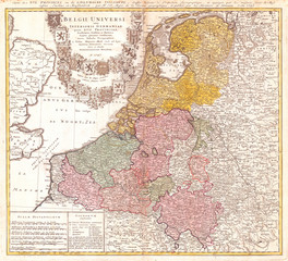 Old Map of Belgium and the Netherlands 1747, Homann Heirs