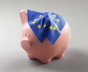 Piggy bank with flag