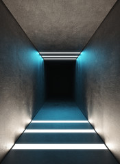 Tunnel with light, modern building, 3d render illustration