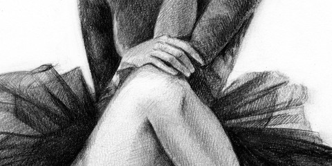 ballerina black. the dancer is sitting. girl. pencil drawing. graphics