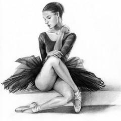 balerina czarna. tancerz siedzi. dziewczynka. rysunek ołówkiem. grafika - 243459393