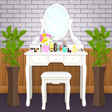 Dressing table with mirror with lights, female boudoir for applying makeup, flat drawing, vector illustration. White table and mirror with light bulbs and with cosmetics and flowers in vase in room