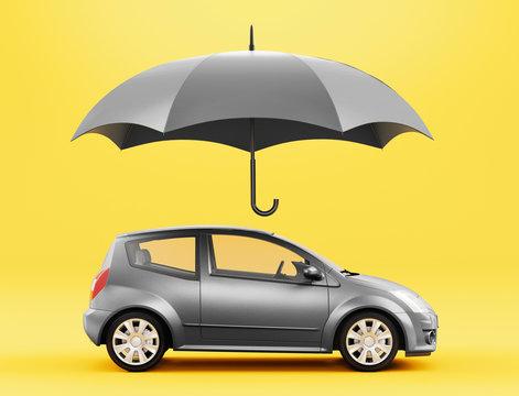 Car and umbrella, insurance concept