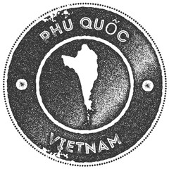 Phu Quoc map vintage stamp. Retro style handmade label, badge or element for travel souvenirs. Dark grey rubber stamp with island map silhouette. Vector illustration.