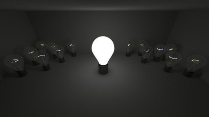 Different light bulbs.