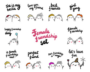 Females friendship set hand drawn illustrations with cute marshmallows