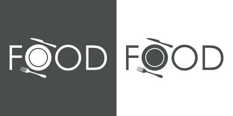 Logotipo con texto FOOD con icono de plato y cubiertos en gris