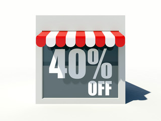 40% off sign on small shop store facade with red awning