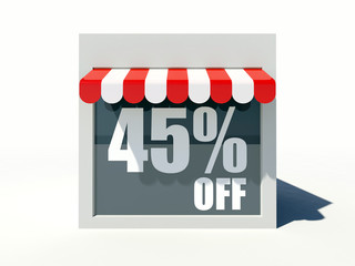 45% off sign on small shop store facade with red awning