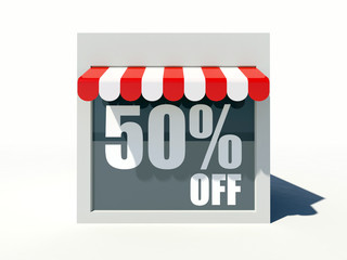 50% off sign on small shop store facade with red awning