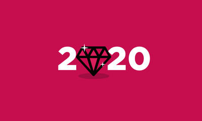 Year 2020 Typography Concept Design with Diamond