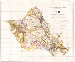 Fototapete - Old Map of the Island of Oahu, Hawaii, Honolulu 1902, Land Office Map