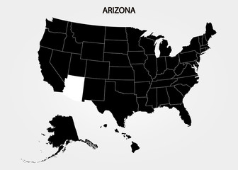 Arizona. States of America territory on gray background. Separate state. Vector illustration