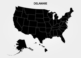 Delaware - US State. States of America territory on gray background. Separate state. Vector illustration
