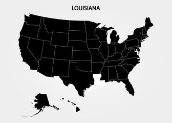 Louisiana. States of America territory on gray background. Separate state. Vector illustration