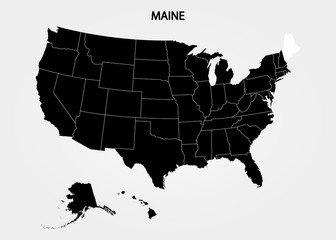Maine. States of America territory on gray background. Separate state. Vector illustration