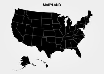 Maryland. States of America territory on gray background. Separate state. Vector illustration