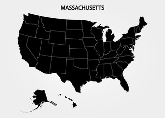 Massachusetts. States of America territory on gray background. Separate state. Vector illustration