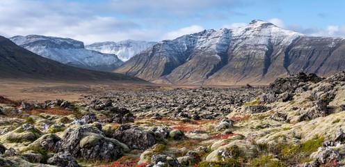 Berserkjahraun lava field and snowy peaks
