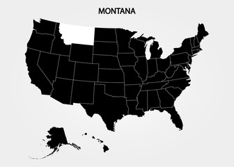 Montana. States of America territory on gray background. Separate state. Vector illustration